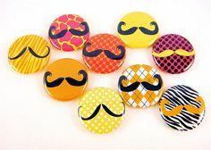 Mustache Love Quirky Moustache  Pinback Buttons by PandaLoveShop, $4.50