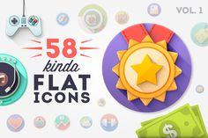 58 Premium Flat icons by Difiz Boutique on Creative Market