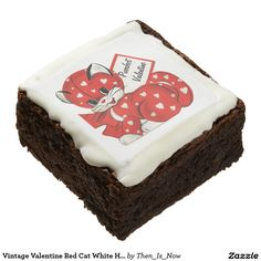 Vintage Valentine Red Cat White Hearts Retro Love Brownies  #cat #valentinesday #sweettreats