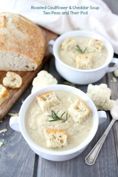 Roasted Cauliflower & Cheddar Soup from twopeasandtheirpod.com #recipe