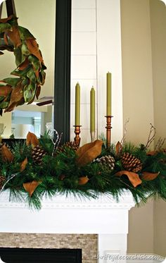 Magnolia Christmas mantel and DIY wreath