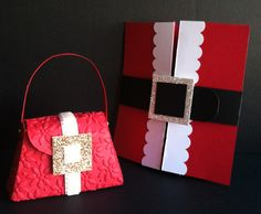 Santa's suit gift card holder & Mrs. Claus' purse candy holder. FREE tutorial on my blog: http://peaceloveandjoyce.com Will you be giving gifts of money or gift cards this Christmas? I think it always makes gift cards and cash so much more fun to give, and to receive, when they are in adorable hand-made holders! You can order supplies to make these projects at joycefisher.stampinup.net  #StampinUp #GiftCard #Purse #Santa #MrsClaus