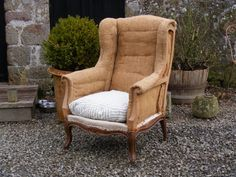 19th Century Hessian Wing Back Chair.  Height: 106cm Width: 77cm Depth: 52cm.    SOLD