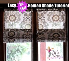 Easy DIY No Sew Roman Shades Tutorial with Video via PinkWhen.com