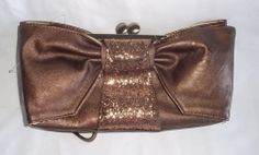 Jessica Simpson Bronze Bow Glittered Wristlet Clutch~