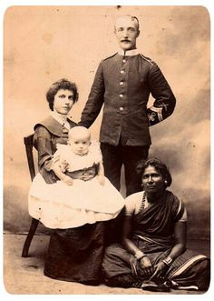 British soldier & family with Indian servant.