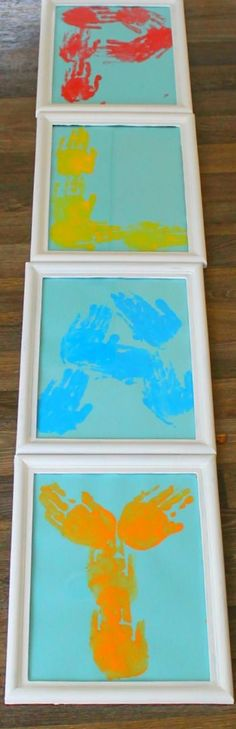 Such a great way to add a personal touch to any room - and a lovely keepsake too! Such a great way to add a personal touch to any room - and a lovely keepsake too! Kids Learning Activities, Infant Activities, Preschool Art, Toddler Preschool, Projects For Kids, Crafts For Kids, Infant Classroom, Footprint Crafts, Handprint Art