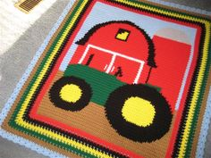 childs tractor/barn afghan - Crochet Me