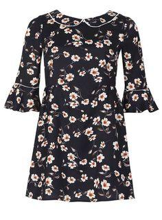 *Izabel Navy 3/4 Sleeve Floral Print Skater Dress