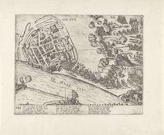 Frans Hogenberg | Inname van Grave door Parma, 1586, Frans Hogenberg, 1586 - 1588 | Beleg en inname van Grave door Parma, 6 juni 1586. Het leger van Parma bestormt een bres in de muren. Op de voorgrond de Maas. Met onderschrift van 12 regels in het Duits. Genummerd: 235.