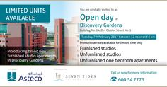 #Asteco cordially invites you to an open day at Discovery Gardens.   Introducing brand new furnished studio apartments for Lease. Limited units available.  Promotional rates available for limited time only.  Do not miss this opportunity.  Venue – Building 14, Zen Cluster, Street No. 1, Discovery Gardens Date – Tuesday, 7th February 2017   Timings – 12 noon – 8:00 pm  #Asteco #DiscoveryGardens #Dubai #bestpropertyconsultancy