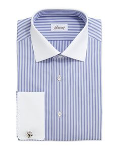 Striped dress shirt with contrast collar and cuffs. Brioni logo tag on inside. Point collar; button front. Long sleeves with rounded French ...