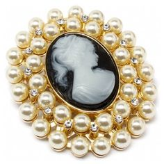 Ann's Heirloom Style Faux Pearl & Cameo Brooch ($37) ❤ liked on Polyvore