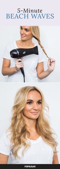 This 5-minute beach wave tutorial leaves perfectly undone summer waves with just enough volume. This technique also creates volume in limp, straight hair. You can also use this method to smooth unruly natural waves.: