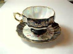 Gorgeous Grantcrest China Tea Cup Saucer Black Gold Vintage