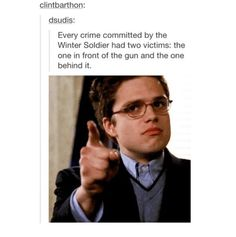 ''Every crime committed by The Winter Soldier had two victims : The one in front of the gun and the one behind it.'' YES. Sebastian Stan approves!!!! / The Winter Soldier