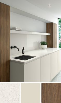 8 beautiful white colour schemes for kitchens, bathrooms and laundries Brown Bedroom Colors, Colour Schemes For Living Room Grey, House Color Schemes Interior, Bathroom Color Schemes, Kitchen Colour Schemes, Interior Design, Interior Colors, Laundry Room Colors, Laundry Room Design