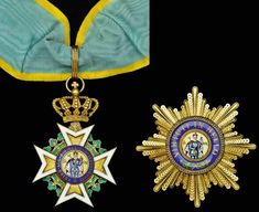 GERMANY (Saxony) - Military Order of St. Henry, Grand Cross, 78mm including crown suspension x 53mm, silver-gilt and enamel; Star, 75mm.