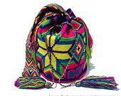 """Authentic Wayuu Bags Wayuu Mochila Standard Size 11"""" x 9"""".Boho 2014. wybag-35"""