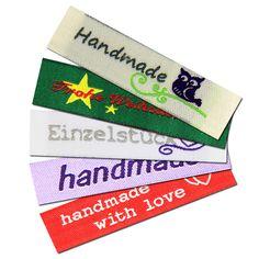 Fertige Namensbänder, Textiletiketten, handmade Stofflabels für die Handarbeit.