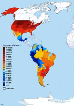 European admixture (% of European DNA) in the Americas by subnational entity Semitic Languages, Important Facts, Historical Pictures, South America, Central America, Ancestry, Archaeology, Rugs On Carpet, Culture