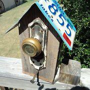 Rustic Primitive Folk Art Hand Crafted Bird House Idaho License Plate Roof | eBay