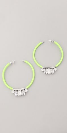 Noir Jewelry Neon Crystal Hoop Earrings - fun fun