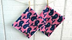 Baby Burp Cloths Set of 2-Whales-Terry Cloth by SouthernPeachShop