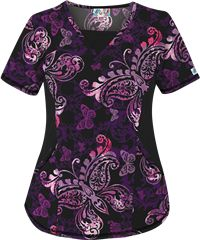 UA Butterfly Bound Black Print Scrub Top Style #  ST868BBK  | Radiant Orchid