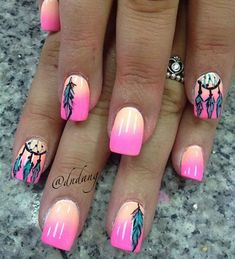 Talk about hot nails and wild dreams! This wonderful dreamcatcher nail art is simply eye catching. The pink and yellow gradients combine to form a pretty horizontal background, with painted feathers to remind you of the summer dream.