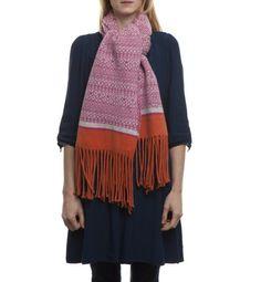 Cozy Knitted Fair Isle Stripe Scarf Wrap Blanket with Tassels