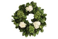 "28"" Salal & Hydrangea Wreath, Preserved spring !"