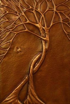 on copper by catrulz - this is probably made by using the chasing and repousse' technique or maybe by the embossing sheet metal technique which is a stamping process using a die or rollers Metal Tree Wall Art, Metal Art, Feuille Aluminium Art, Hot Glue Art, Glue Gun Crafts, Creation Art, Metal Embossing, Gun Art, Art Diy
