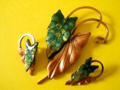 Holiday 12 Coupon Sale MATISSE Copper BROOCH EARRINGS by jaguara77, $97.00