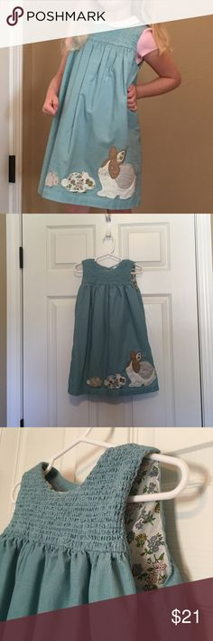 Mini Boden Dress-corduroy pinafore with bunnies Excellent condition. Smokey blue fine wale corduroy. Fabric is very lightweight. 100% cotton. Machine wash and dry. Mini Boden Dresses