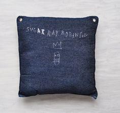 Sugar Ray Robinson  Basquiat J.M. fabric sculpture.