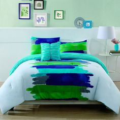 Watercolor Comforter Set at Bed Bath & Beyond - would be so cute for the dorm!