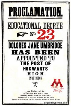 Educational Decree Wizarding Proclamation 23 (Umbridge is Inquisitor) printable .pdf file