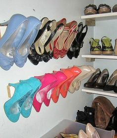 s 16 brilliant ways to squeeze much more into your closet, closet, organizing, storage ideas, Organize heels with wall trim Diy Shoe Storage, Diy Shoe Rack, Storage Ideas, Closet Storage, Storage Hacks, Boot Storage, Small Space Storage, Small Space Organization, Organizing Life