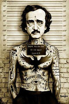 Poe by Marcus Jones Edgar Allan Mugshot Tattoo Canvas Fine Art Print