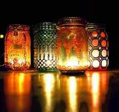 These lovely mason jars have been decorated with moroccan designs - a DYI project!