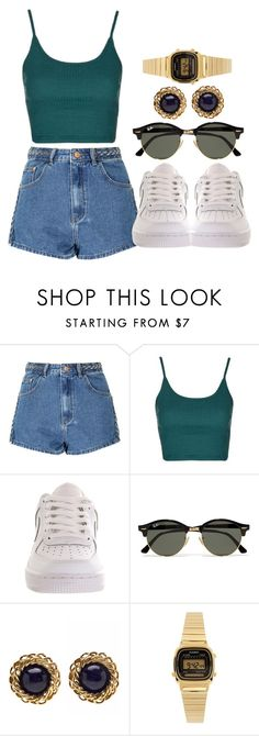 """""""Sin título #1122"""" by tamar4a ❤ liked on Polyvore featuring Glamorous, Topshop, NIKE, Ray-Ban, Chanel and Casio"""