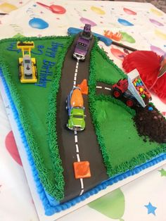 Car and truck sheet cake