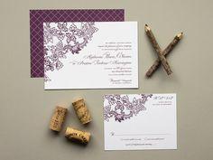 Vintage Vineyard Wedding Invitation, flat print wedding invitation, wine theme weddings
