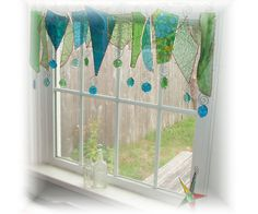I want this!    Serendipity Blue Green Glass Window Treatment Window Valance. littlelalaoriginals on etsy