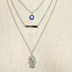 3 LAYER SILVER HAMSA EVIL EYE BAR NECKLACE. Check it out! Price: $26 Size: Various