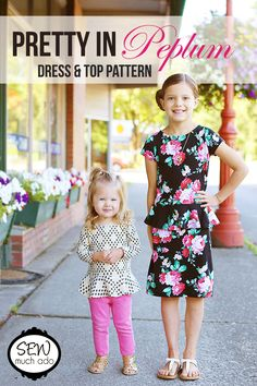 The perfect mix between dressy and casual! The Pretty in Peplum Dress & Top PDF Pattern willadd a little class to your knit sewing, without sacrificing comfort! The pattern includes options for both a dress and top that are easy to dress up or down. Choose one of three sleeve lengths… And keep yourlittle girl …