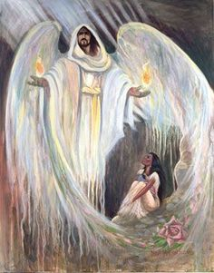 Jesus surrounding Bride of Christ. Psalm 91 He who dwells in the secret place of the Most High, will rest under the Shadow of the Almighty. Under His Wings, Shadow Of The Almighty, Bride Of Christ, Prophetic Art, Jesus Art, Biblical Art, Secret Places, Angel Art, Bible Art