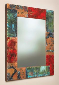 """33.75"""" x 27"""" Metal and Copper Mirror on Etsy, $375.00"""