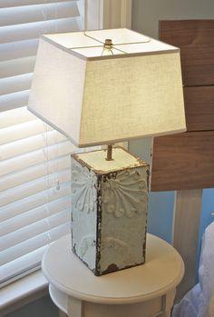 DIY-Antique ceiling tin into lamp tutorial
